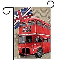 ガーデンフラッグ、屋外看板吊り飾り、英国の赤いバス 、テラス鉢植えデッキ用28x40インチ