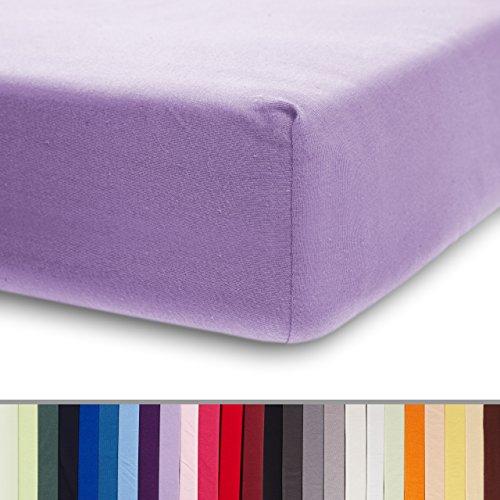 Lumaland - Jersey hoeslaken - elastische rand - 100% katoen - 160g/m² 60 x 120 cm - 70 x 140 cm - Paars