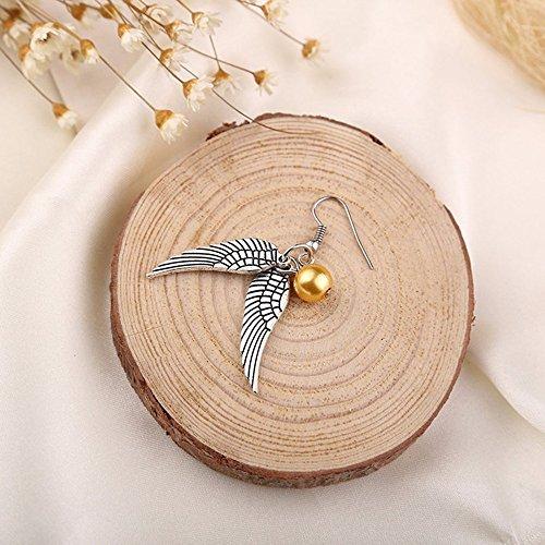 Harry Potter Bezaubernde Goldener Snitch (Schnatz) Ohrringe mit doppelseitigem Flügel - Antike-Silber
