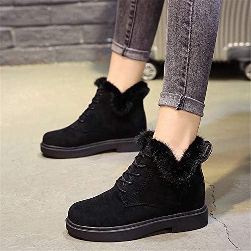 IWxez zapatos Confortables para mujer Ante botas Casuales de Invierno Tacón Plano negro Caqui
