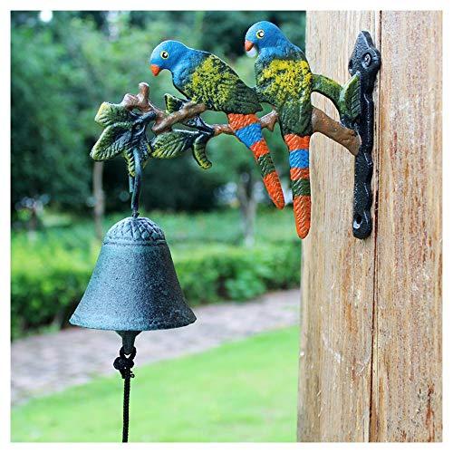 MJIA Timbre de Hierro Retro Vintage Hierro Fundido Mano Forjado Puerta Bienvenido Reloj Pared decoración de Aves Colgante Retro Timbre