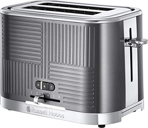Russell Hobbs 25250 Geo Steel 2 Slice Wide Slot Toaster - Contemporary Design with Faster Toasting Technology, Textured Stainless Steel