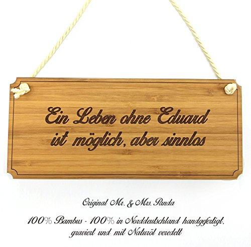 Mr. & Mrs. Panda Türschild Eduard Classic Schild - 100% handgefertigt aus Bambus Holz - Anhänger, Geschenk, Vorname, Name, Initialien, Graviert, Gravur, Schlüsselbund, handmade, exklusiv
