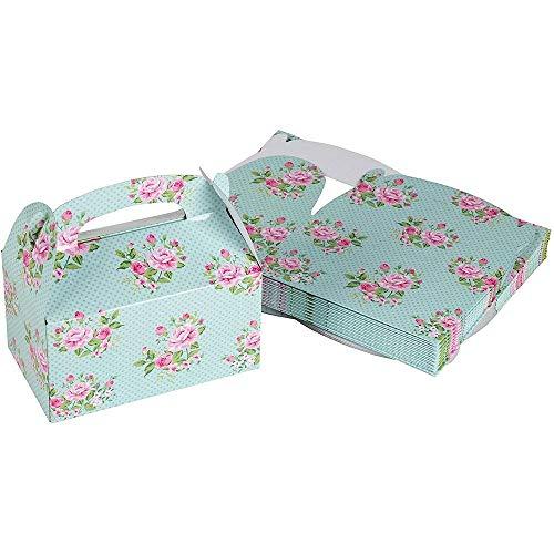 Scatole per dolcetti – Confezione da 24 scatole di carta per bomboniere, design vintage floreale per compleanni ed eventi, 2 dozzine di scatole, 15,2 x 3,3 x 3,6 cm