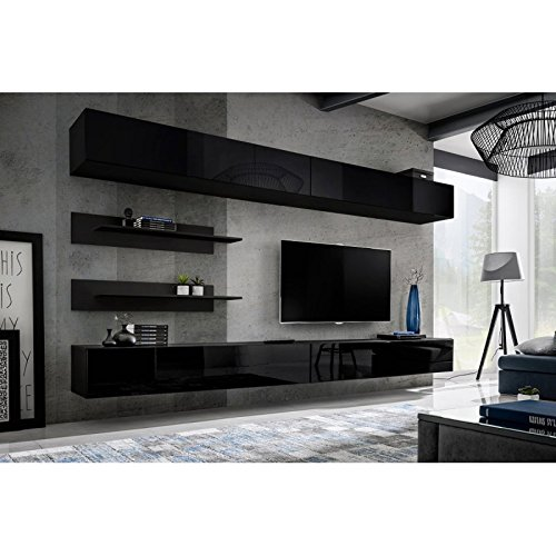 Paris Prix - Meuble TV Mural Design Fly VI 320cm Noir