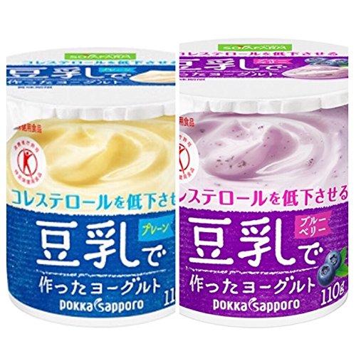 ソヤファーム 豆乳で作ったヨーグルトプレーン/ブルーベリー葉肉入り各 110g×24コ 48個入