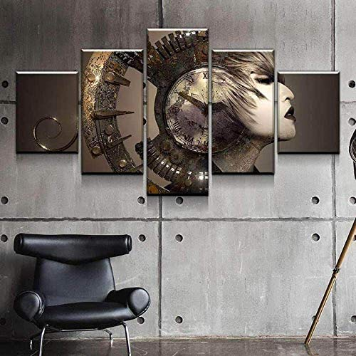 IMXBTQA Cuadro En Lienzo 150X80Cm Reloj De Mujer Surrealista Steampunk Impresión De 5 Piezas Material Tejido No Tejido Impresión Artística Imagen Gráfica Decor Pared