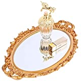 Zosenley Decorative Mirror Tray, Floral Vanity Organizer for Perfume, Makeup, Jewelry and Décor, Vintage Oval Display and Serving Tray for Dresser, Countertop and Coffee Table, Gold