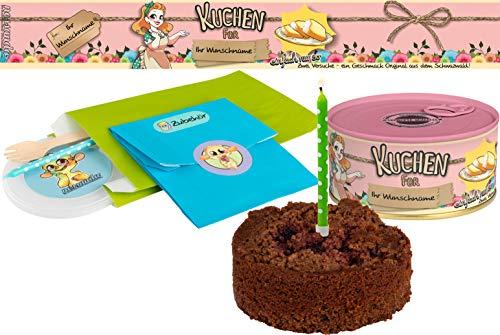Kuchen mit Wunschnamen einfach nur so | Kuchen in der Dose | Personalisiert mit Wunschnamen und Geschmack | Geschenk | Geschenkidee (Schoko-Kirsch, Rosa)