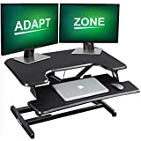 ADAPTZONE Standing Desk Converter, 33 Inch Height Adjustable Sit Stand Up Desk Riser, Sit Stand Desk Converter with Deep Keyboard Tray for Laptop, Tabletop Stand Up Desk Workstation Fits Dual Monitor