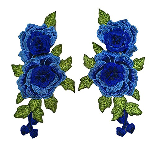 Bluelans 2pcs Embroidered Rose Flower Patch Iron/Sew on Applique Motif Craft (Blue)