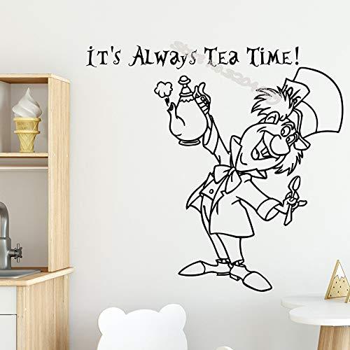 TYLPK Es ist immer Tee Zeit Wand Zitat Aufkleber im Wunderland Hutmacher Cartoon Bild Decals Decor Küche Kindergarten Poster EB517 56x56cm