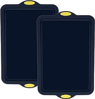 Lot de 2 Plaques de Cuisson Plat de Four Moule en Silicone Qualité Alimentaire(avec Noyau Métallique) Plat à Four Antiadhé...