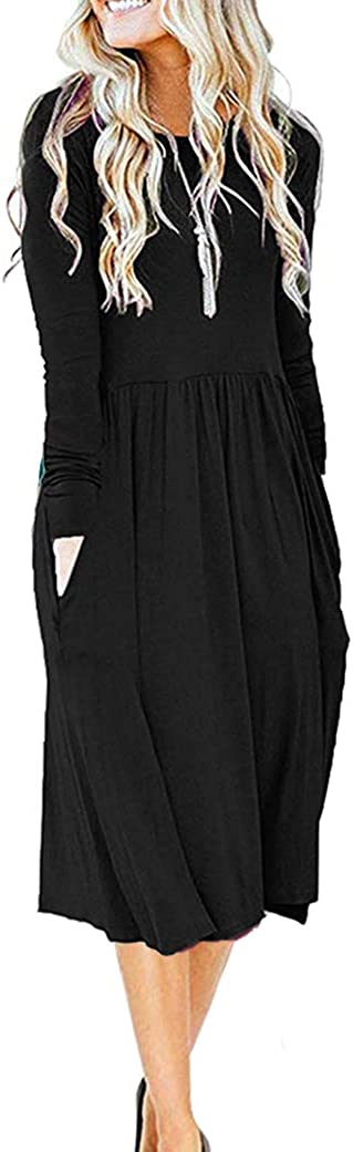 MISFAY Women's Casual Long Sleeve Dresses Empire Waist Loose Dress with Pockets