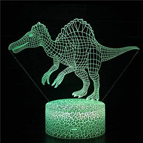 Lámpara de mesa 3D Spinosaurus Hallorum Argentinosaurus Tyrannosaurus ilusión óptica luz nocturna regalo para niños dinosaurio de dibujos animados Animal