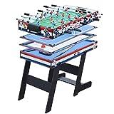 CARACHOME 4 in 1 Klappbarer multigame spieltisch, Billardtisch/Airhockey/Mini-Tischtennis-Tisch mit klappbaren Beinen, für Erwachsene und Kinder, Familienspiele