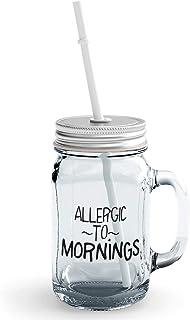 Clear Mason Jar Allergic To Mornings Grumpy Annoyed Glass Jar With Straw