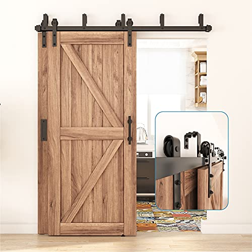 ZEKOO 4FT - 16FT Double Track Bypass Barn Door Hardware Kit Low Ceiling Wall Mount for Closet Double Wooden Doors (6FT Bypass kit)