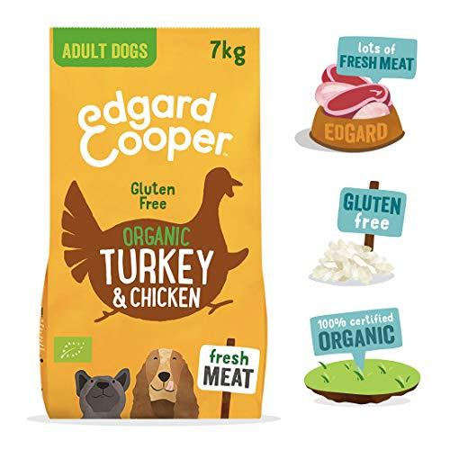 4 HEALTHY PETS Edgard & Cooper Kreuzkeller für Hunde Adulti al Tacchino & Hähnchen Biologici Freschi mit Carota, Pera & Bio-Samen, 7 kg Gluten Free - Bio
