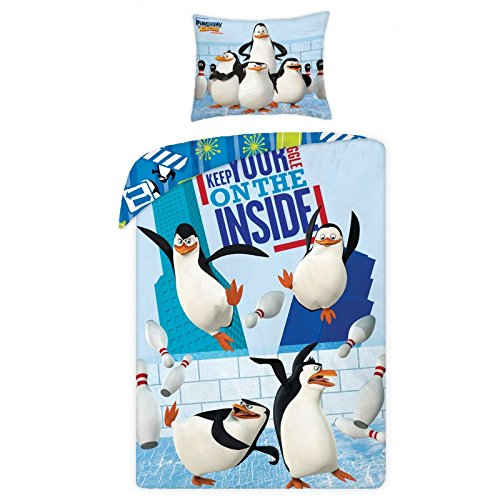 Los Pingüinos de Madagascar–Juego Ropa De Cama Reversible 100% algodón funda de edredón 140x 200+ funda de almohada 70x 90Idea Déco