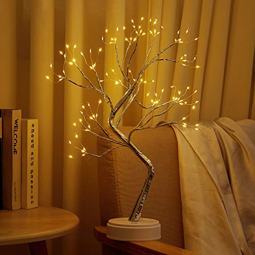 20' Firefly Bonsai Tree Light - DIY Artificial Tabletop Fairy Light Spirit Tree Lamp with 108 LED Silver Branches - Battery/USB Operated, for Home, Children's Room, Bedroom, Wedding, Party