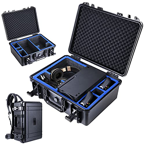 Hard Shell Travel Carrying Case Bag Compatible with Xbox Series X Games Accessories with Removable Ergonomic Strap Anti-Fall Shockproof Waterproof Backpack