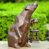 SPI Home 32435 Bear with Lantern Sculpture