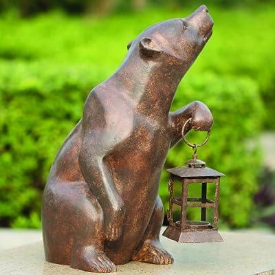 SPI Home 32435 Bear with Lantern Sculpture