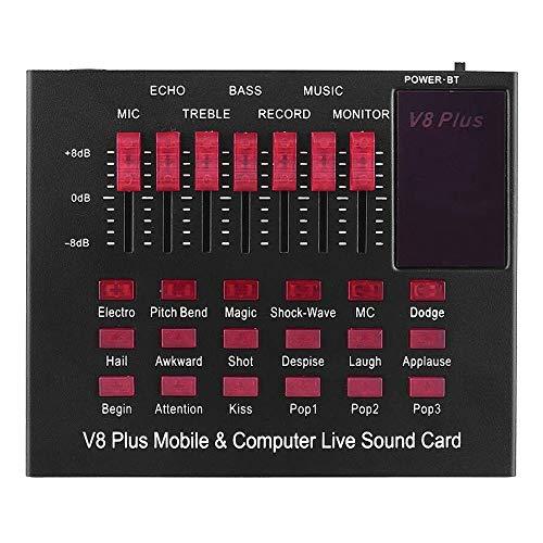 Varadyle V8 Plus Tarjeta de Sonido en Vivo para Computadora y Móvil Recargable Interfaz de Audio USB con Efectos de Sonido Conexión BT para Cantar