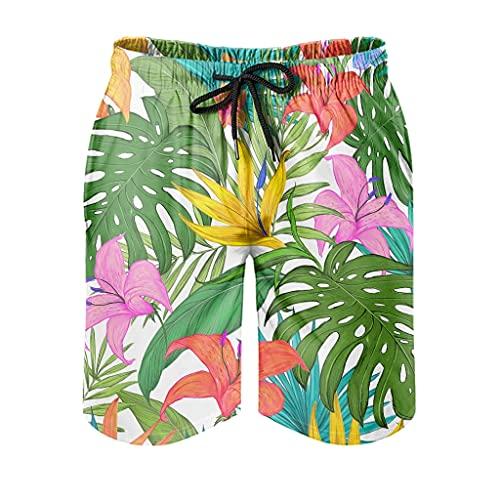 Gamoii Bañador para hombre con diseño de plantas tropicales, plumería, flores, cómodo estampado, forro de malla, playa, pantalones cortos para correr, con bolsillos, color blanco, XXL
