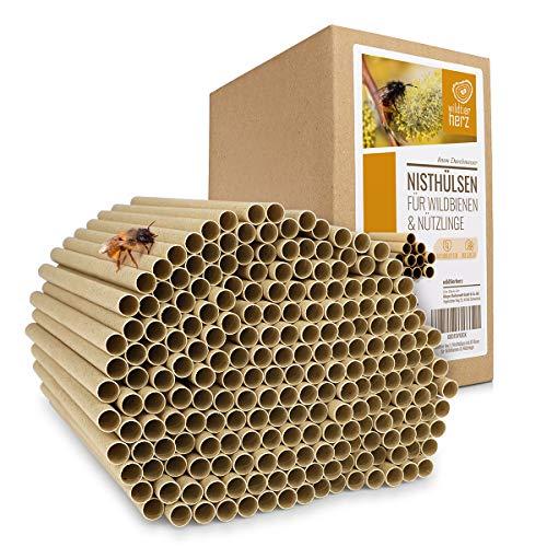 wildtier herz | 200 Nisthülsen mit Ø 8mm für Wildbienen - 100% FSC ökologische Pappröhrchen für Insektenhotel, Niströhren Bruthülsen Füllmaterial für Bienenhotel