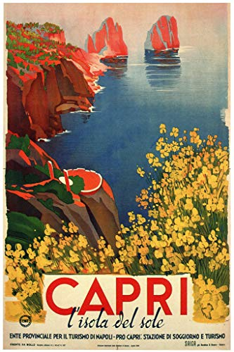 Visit Capri Italy Isola Del Sole Naples Napoli Tourism Vintage Illustration Travel Cool Wall Decor Art Print Poster 12x18