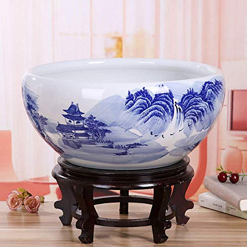 Ceramic Pot Planter Fish Tank with Base, Turtle Bowl Water Tank Hydroponic Bonsai Planter Oriental Style for Outdoor Decoration