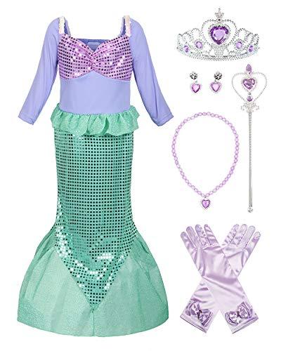 ReliBeauty Mädchen Pailletten Kleine Meerjungfrau Kostüm, Wie Gezeigt(mit Zubehör), 116-122