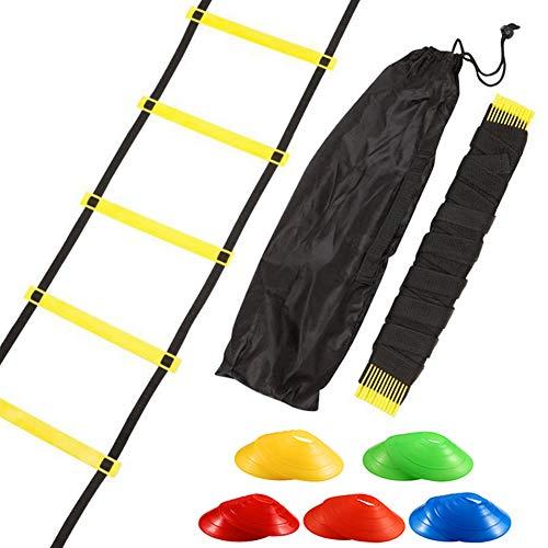 sisn Koordinationsleiter 3M Set, 6 Sprossen Trainingsleiter Agility Leiter und 10 Sportkegeln für mehr Fußschnelligkeit und Koordination bei Fußball(3m)