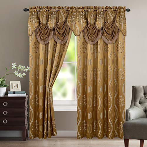 """Elegant Comfort Aurora Jacquard Look Curtain Panel Set with Attached Valance 54"""" X 84 inch (Set of 2), Taupe"""