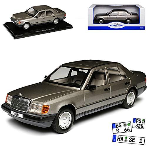 Model Car Group Mercedes-Benz E-Klasse 300 D W124 Limousine Anthrazit Grau 1984-1997 1/18 Modell Auto mit individiuellem Wunschkennzeichen