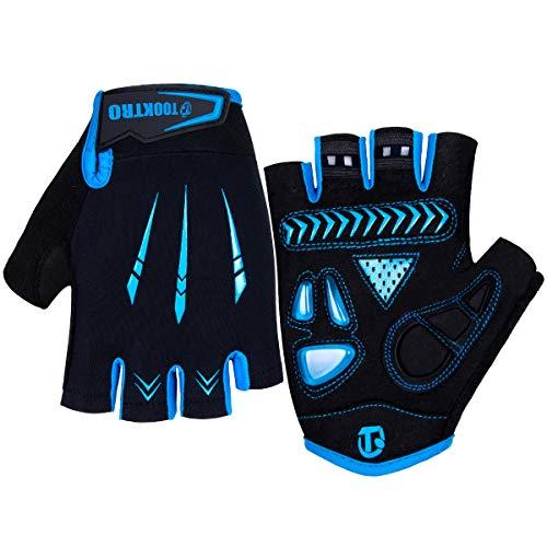 Fahrradhandschuhe Fingerlos Gel MTB Handschuhe Halbfinger Herren Damen, Atmungsaktiv Anti-Rutsch Mountainbike Handschuhe Halbfinger Radsporthandschuhe Training Handschuhe für Männer Frauen (Blau, L)