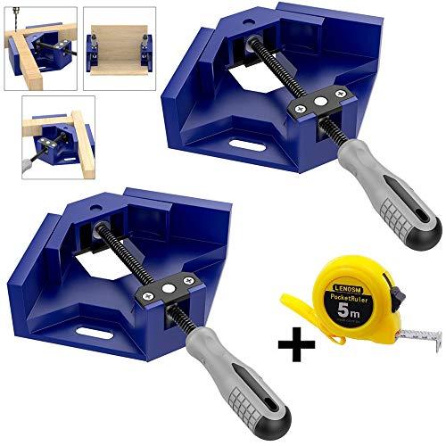 Lubein Winkelklemmen, 2 Stück, 90 Grad Winkelklemme, rechter Halter, Schweißklemme, verstellbarer Schraubstock, ideal für Tischler, Holzbearbeitung mit einem Maßband, blau