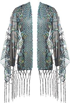 BABEYOND 1920s Sequined Shawl Wraps Peacock Embroidery Evening Cape Pashmina Shawl Wedding Bridal Shawl Scarf