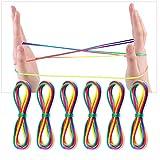 LYTIVAGEN 6 PCS Juego de Cuerdas para Juegos de Dedos, Juguetes de Habilidad de Dedos Cuerda de Arco Iris para Juegos Antiguos (2MM * 165CM)