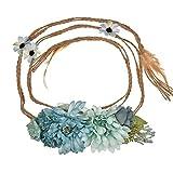 YAZILIND Bohemia estilo flor pretina floral Garland playa faja foto apoyos (verde)
