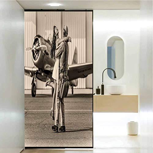 Pegatina decorativa anti UV para ventana, decoración de avión, estilo vintage, diseño de mujer joven, morena, decoración de baño, baño, baño, 35.4 x 78.7 pulgadas