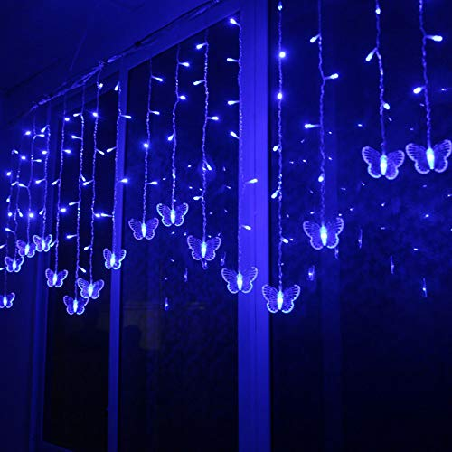 String Lights for Bedroom - 1.5X0.5m Led Butterfly String Light Waterproof Curtain Christmas Holiday Decoration Bulbs with 48LED and 10 lines Butterfly String Curtain Lights for Girls Room Bedroom