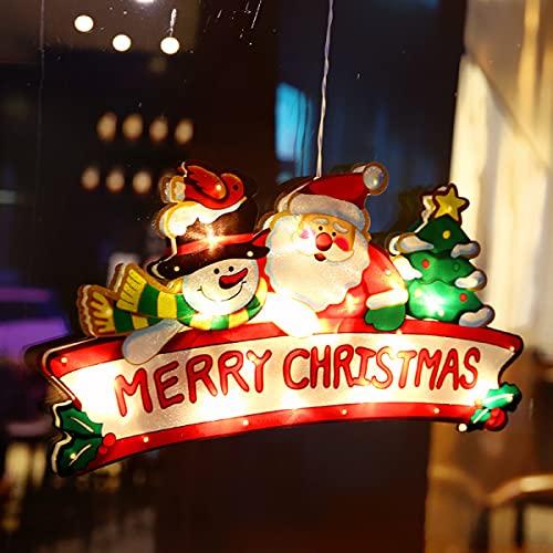 Cadena de luz de Navidad, Cadena de luz LED, Ventosa Ventana colgante luces, Luces de cortina, Ambiente de la tienda de Navidad, Luces de decoración de vacaciones