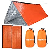 DIBBATU Emergency Survival Tent and 2 Emergency Sleeping Bag Lightweight Waterproof bivy Sack Used as Survival Tent, Emergency Tube Tent, Mylar Tent Survival Bivy Sack for Outdoor Adventure