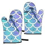 Beauty-Design Lg Scale Oceana Guantes de horno, resistentes al calor, antideslizantes, guantes de cocina para asar, cocinar, hornear, cocina, microondas, pizza