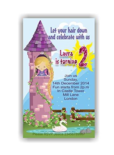 10 x Raiponce Tangled personnalisé enfants Fête d'anniversaire Invitations ou cartes de remerciement