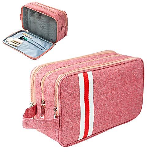 旅行用の化粧ポーチ トラベルポーチ 洗面用具入れ バスルームポーチ 小物 収納 バッグインバッグ 出張 海外 旅行グッズ 育児グッズ (ネイビー) 男女携帯収納袋収納バッグセット大容量旅行用品 (粉色(L))