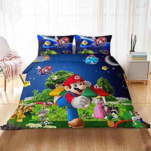 YZHY Super Mario Games - Juego de funda de edredón para cama individual, doble y king, diseño de dibujos animados con cremallera, 100% microfibra para niños y adultos regalo (J,200 x 200)